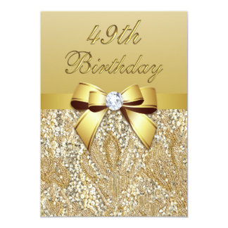 49th Birthday Gold Faux Sequins and Bow Card