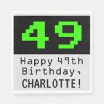 """[ Thumbnail: 49th Birthday - Nerdy / Geeky Style """"49"""" & Name Napkins ]"""