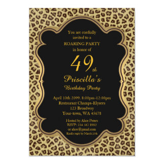 49th,Birthday Party 49th,Cheetah, Black & Gold Card