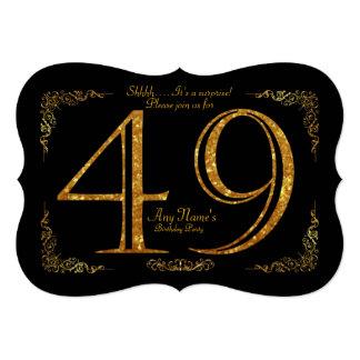 49th,Birthday party 49th,great Gatsby,black & gold Card