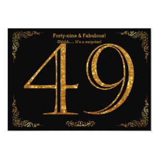 49th Birthday party,Gatsby styl,black gold glitter Card