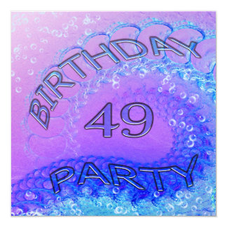 49th Birthday party invitation, Abstract and bubb Card