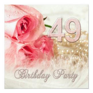 49th Birthday party invitation, roses and pearls Card