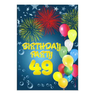 "49th Birthday party Invitation with balloons 5"" X 7"" Invitation Card"