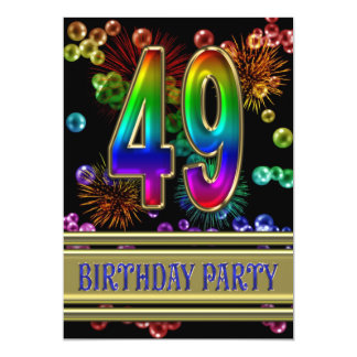 49th Birthday party Invitation with bubbles