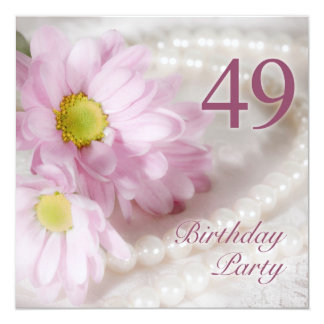 49th Birthday party invitation with daisies