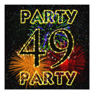 49th birthday party invitation with fireworks