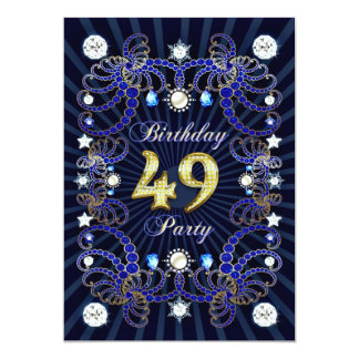 49th birthday party invite with masses of jewels