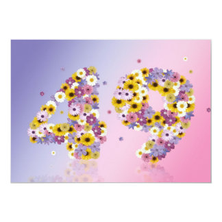 49th Birthday party, with flowered letters Card