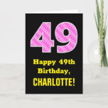 "[ Thumbnail: 49th Birthday: Pink Stripes and Hearts ""49"" + Name Card ]"