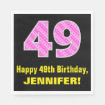 "[ Thumbnail: 49th Birthday: Pink Stripes and Hearts ""49"" + Name Napkins ]"