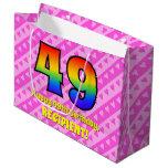 [ Thumbnail: 49th Birthday: Pink Stripes & Hearts, Rainbow # 49 Gift Bag ]