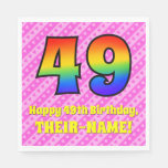 [ Thumbnail: 49th Birthday: Pink Stripes & Hearts, Rainbow # 49 Napkins ]