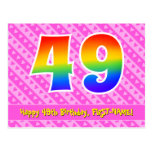 [ Thumbnail: 49th Birthday: Pink Stripes & Hearts, Rainbow 49 Postcard ]