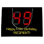 "[ Thumbnail: 49th Birthday: Red Digital Clock Style ""49"" + Name Gift Bag ]"