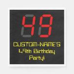 "[ Thumbnail: 49th Birthday: Red Digital Clock Style ""49"" + Name Napkins ]"