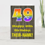"[ Thumbnail: 49th Birthday: Rustic Faux Wood Look, Rainbow ""49"" Card ]"