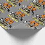 [ Thumbnail: 49th Birthday: Spooky Halloween Theme, Custom Name Wrapping Paper ]
