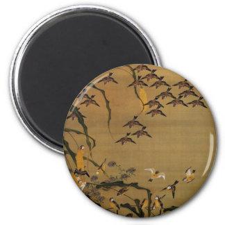 4. 秋塘群雀図, 若冲 Flock of Sparrows, Jakuchū 2 Inch Round Magnet