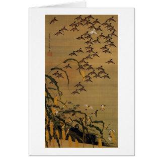 4. 秋塘群雀図, 若冲 Flock of Sparrows, Jakuchū Card