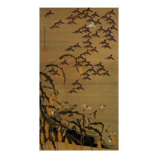 4. 秋塘群雀図, 若冲 Flock of Sparrows, Jakuchū Poster