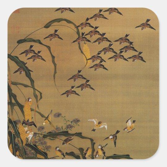 4. 秋塘群雀図, 若冲 Flock of Sparrows, Jakuchū Square Sticker