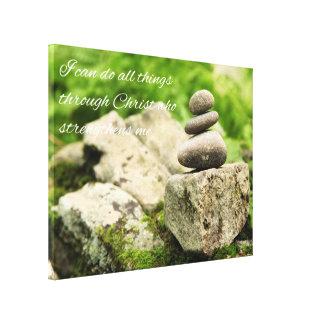 4:13 de equilibrio de los filipenses de las rocas impresión en lienzo