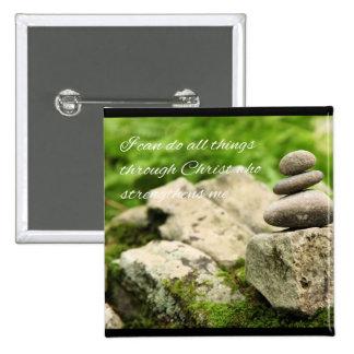 4:13 de equilibrio de los filipenses de las rocas pin cuadrado