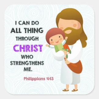 4:13 de los filipenses a través de Cristo Pegatina Cuadrada