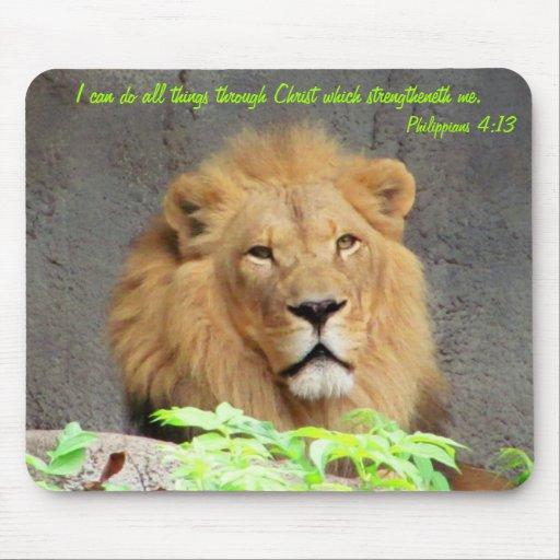 4:13 de los filipenses con el león masculino tapetes de ratón
