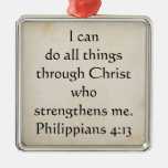 4:13 de los filipenses de la escritura adorno cuadrado plateado