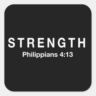 4:13 de los filipenses de la fuerza pegatina cuadrada