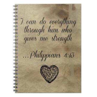 4:13 de los filipenses del verso de la biblia note book