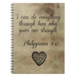 4:13 de los filipenses del verso de la biblia libretas