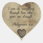 4:13 de los filipenses del verso de la biblia calcomanía de corazón personalizadas