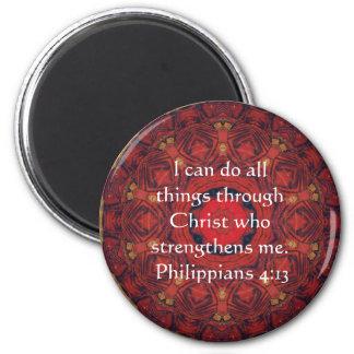 4:13 de los filipenses que inspira verso de la bib imán redondo 5 cm