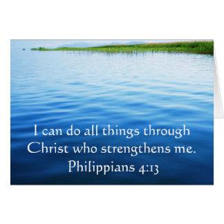 4:13 de los filipenses que inspira verso de la bib tarjeta de felicitación