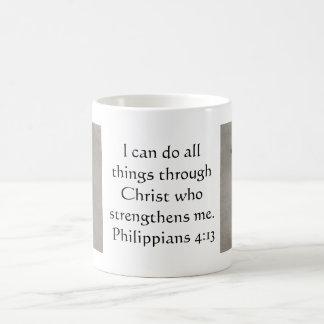 4:13 de los filipenses que inspira verso de la bib tazas