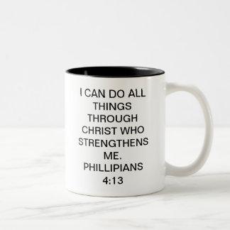 4:13 de los filipenses taza de café de dos colores