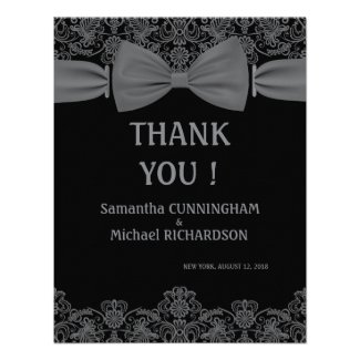 """4.25"""" Vintage Lace Dark Bow Wedding Thank You Personalized Invitations"""