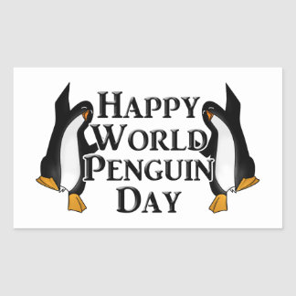 4-25 World Penguin Day Rectangular Sticker