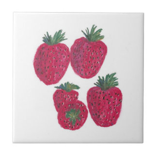 "4.25""x4.25""Ceramic Tile, Coaster - Strawberries Ceramic Tile"