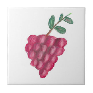 "4.25"" x 4.25"" Ceramic Tile, Coaster - Red Grapes"