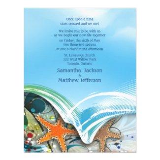 """4.25"""" x 5.5"""" Beach Starfish Couple Wedding Invite"""