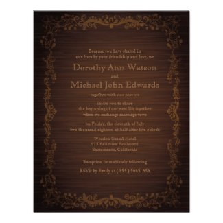"4.25"" x 5.5 Floral Wooden Style Wedding Invitation"