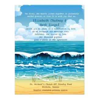 "4.25"" x 5.5"" Ocean Beach Waves Wedding Invitation"
