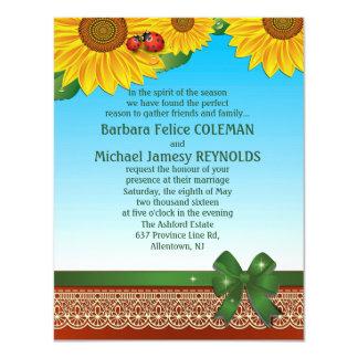 """4,25"""" x 5,5"""" señora Bugs Sunflowers del verano de Invitación 4.25"""" X 5.5"""""""