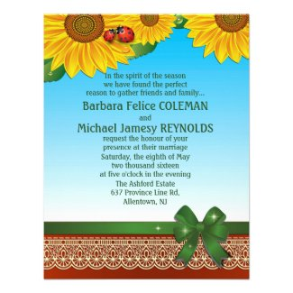 "4.25"" x 5.5"" Spring Summer LadyBugs Sunflowers Custom Invitations"