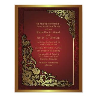 """4.25x5.5"""" Damask Luxury Golden Red Wedding Invite"""