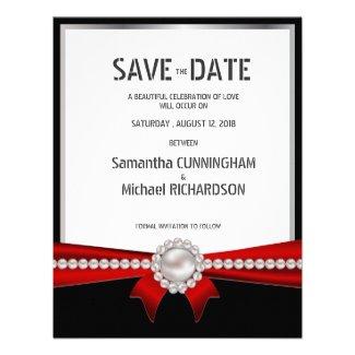 "4.25x5.5"" Glamour Luxury Pearls RSVP Wedding Card"